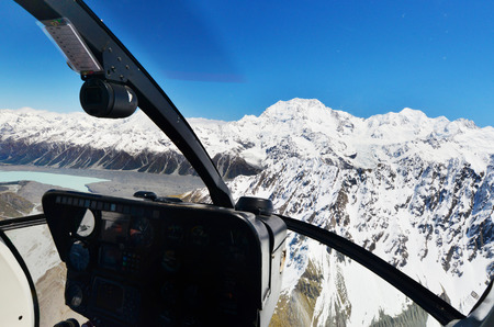 Franz Josef glacier seen from a helicopter cockpit