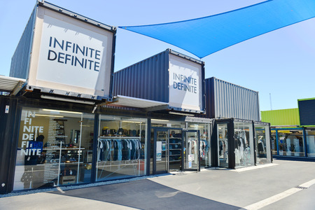 RELOCATED: Christchurch, New Zealand -November 24, 2014: 2014: Restart Container Shops have been relocated to the Western End of Cashel Street Mall.