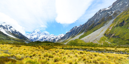 hooker: Glacial stream between rocks and gravel in Hooker Valley from Aoraki Mount Cook highest peak of Southern Alps an icon of New Zealand
