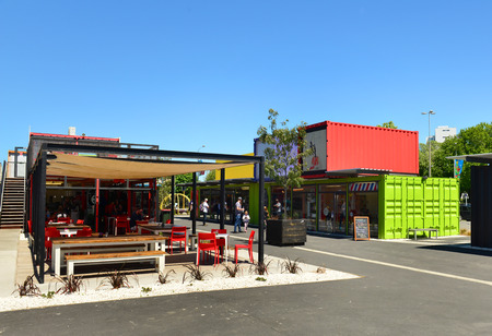 relocated: Christchurch New Zealand November 24 2014: 2014: Restart Container Shops have been relocated to the Western End of Cashel Street Mall. Editorial
