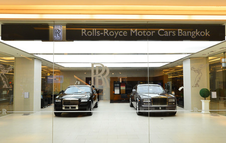 renowned: BANGKOK  JUNE 6 : RollsRoyce show room at Siam Paragon on June 6 2015 It is a renowned British car manufacturing company founded by Charles Stewart Rolls and Sir Frederick Henry Royce in 1906 Editorial