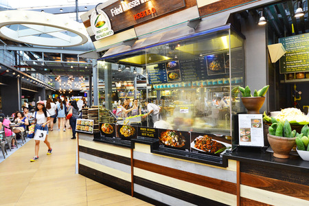 center court: BANGKOK THAILAND  JUNE 8 : Food Court opens at the Siam Center shopping center. June 8 2015 Siam center Bangkok. Editorial