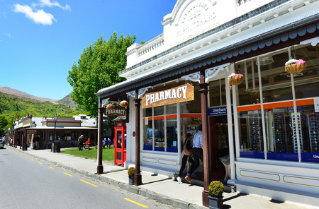 gold mining: ARROWTOWN, NEW ZEALAND - Nov 17: The old Pharmacy in Arrowtown on Nov 17, 2014. Arrowtown is a historic gold mining town near Queenstown in Central Otago, New Zealand.