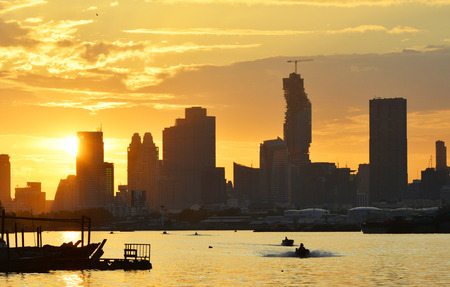 sunsets: Sunsets on the Chao Phraya River in Bangkok.
