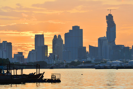 the chao phraya river: Sunsets on the Chao Phraya River in Bangkok.