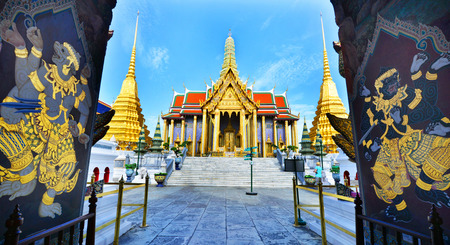 emerald city: Golden pavilion in Wat Phra Kaew, Temple of the Emerald Buddha,Grand palace in Bangkok, Thailand Stock Photo