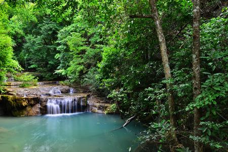 cataract waterfall: Beautiful waterfall Erawan Waterfall in kanchanaburi province.Southeast asia,Thailand. Stock Photo