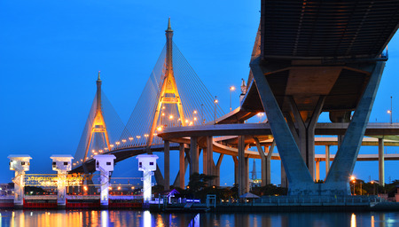 bhumibol: Landscape of Bhumibol Bridge or Industrial Ring Bridge in twilight time, Bangkok, Thailand
