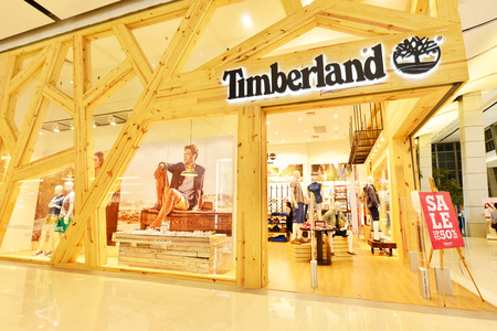 timberland: Bangkok Thailand - JULY 24, 2015: Central World Timberland store.Timberland LLC is a manufacturer and retailer of outdoors clothing and footwear.This American company operates stores worldwide.