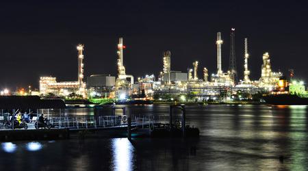 river side: Bangkok,Thailand - August 06,2015: River side view of Bangkok oil refinery at Chao Phraya river in Bangkok,Thailand.
