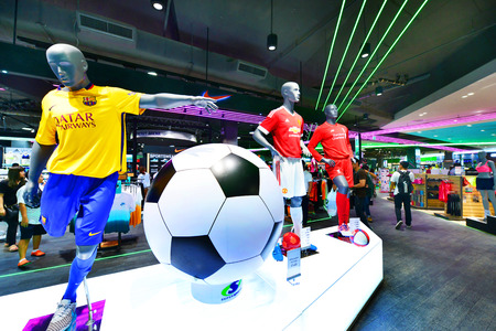 sporting goods: BANGKOK - August 28: Super Sports store at Central  Westgate, Bangkok on August 28, 2015. It is the largest sporting goods reseller in Thailand.