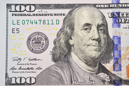 the franklin: Benjamin Franklin portrait from 100 dollars banknote