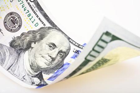 one hundred dollar bill: one hundred dollar bill closeup on white background