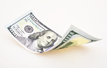 one hundred dollar bill: one hundred dollar bill on white background