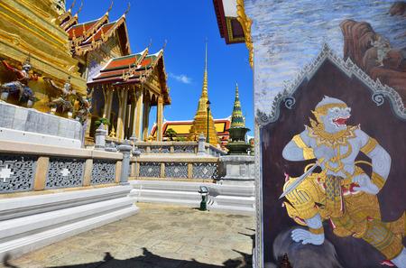 the emerald city: Wat Phra Kaew, Temple of the Emerald Buddha with blue sky Bangkok, Asia Thailand