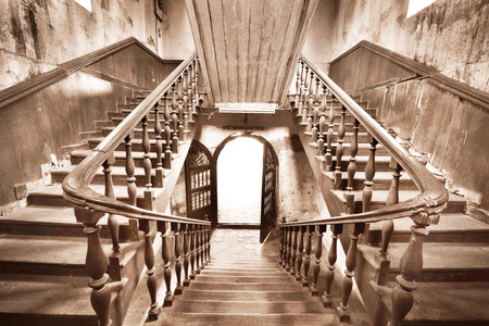 bangrak: Ancient stairs in Colonial style building over 100 years,Bangkok,Thailand