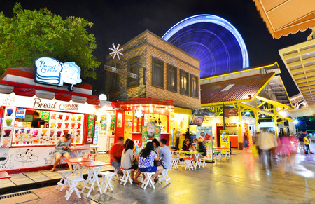 riverfront: BANGKOK - October 15 : ASIATIQUE The Riverfront Factory District on October 15, 2015 in Bangkok, Thailand. Over 500 fashion boutiques housed in Factory District of Asiatique The Riverfront.
