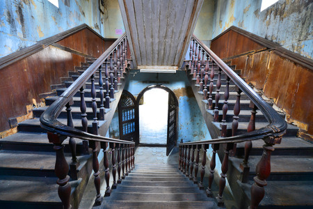 bangrak: BANGKOK - October 12: old stair of fire station Bangrak on Oct 12, 2015. Now this building is public place, Fire station in Bangkok, Thailand.