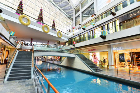 standalone: SINGAPORE -NOV 18: Shopping mall at Marina Bay Sands Resort on November18, 2015 in Singapore. It is billed as the worlds most expensive standalone casino property at 8 S billion.