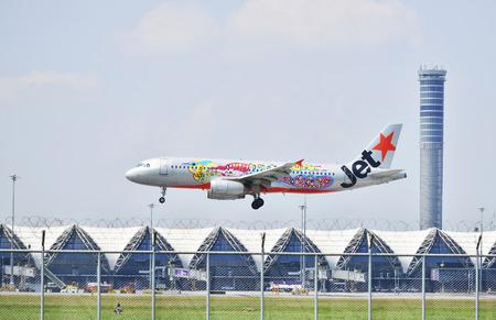 runways: BANGKOK THAILAND -January 30, Jetstar aircraft landing to runways at suvarnabhumi international air port on January 30, 2016 in Bangkok, Thailand. Editorial