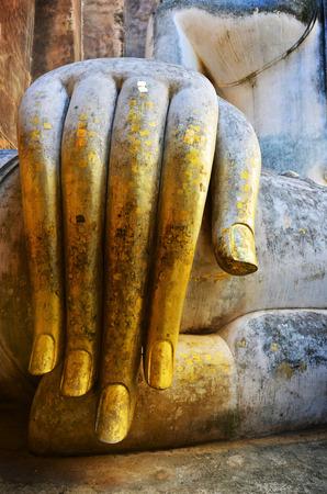 chum: Hand of Phra AjanaTalking Buddha at Wat Si Chum Stock Photo