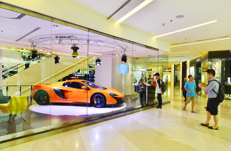 paragon: BANGKOK - FEB 10 : McLaren car. show room at Siam Paragon on February 10, 2016, McLaren is a British automotive manufacturer of high-performance vehicles. Editorial