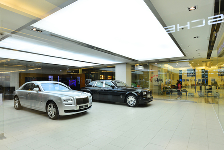 paragon: BANGKOK -JAN 25 : Rolls-Royce show room at Siam Paragon on January 25, 2016, It is a renowned British car manufacturing company founded by Charles Stewart Rolls and Sir Frederick Henry Royce in 1906