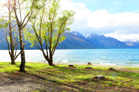 wakatipu: Scenic view of Lake Wakatipu with Southern Alps in background near Queenstown, South Island, New Zealand Stock Photo