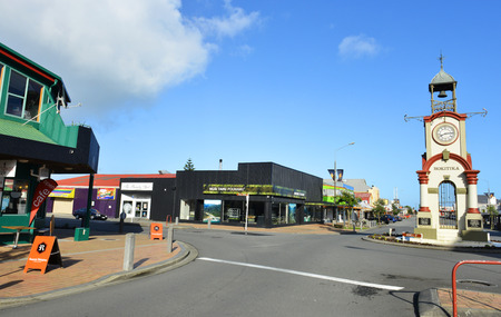 pioneering: HOKITIKA, NEW ZEALAND -November 15: Hokitika Clock Tower in Central business district on Nov 15, 2014 in Hokitika, New Zealand. Hokitika is a township in the West Coast Region of the South Island.