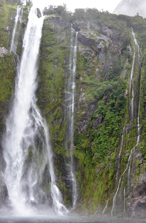 roaring sea: Waterfall at Milford Sound, New Zealand