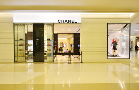 centres: BANGKOK - MARCH 25: Chanel Store in Siam Paragon Shopping mall in Bangkok on March 25, 2016. It is one of the biggest shopping centres in Asia
