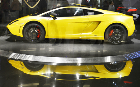 paragon: BANGKOK - FEB 19 : Lamborghini car. show room at Siam Paragon on February 19, 2016, This is one of the biggest shopping center in Asia. It includes a wide range of specialty stores and restaurants.