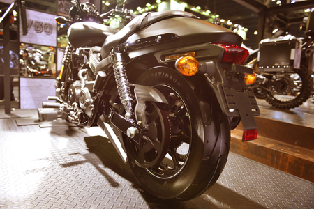 v cycle: A rear view of a motorcycle Editorial