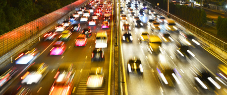 Light trail at highway top view, Thailand Stock Photo
