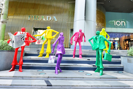 prada: SINGAPORE - CIRCA November, 2015: The sculpture at the mall ION Orchard - one the best shopping centers on Orchard Road. In the mall more than 300 shops of the famous brands.