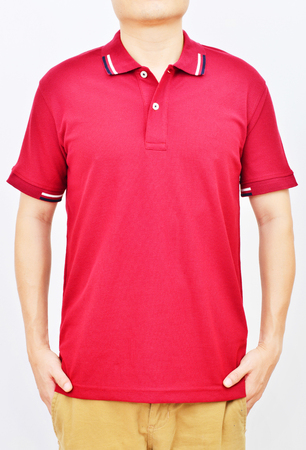 red tshirt: Men in a red T-shirt on white background