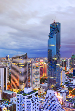 condominium complex: BANGKOK, Thailand -May 22 2016: Mahanakhon is the new highest building in Bangkok. It is the commercial complex with office rental area, luxurious condominium and shopping mall.