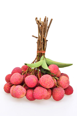 lychees: fresh lychees on white background