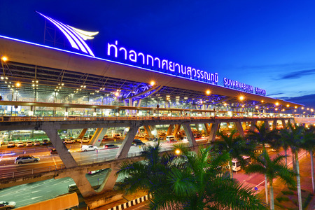 BANGKOK-JUNE 2: Suvarnabhumi Airport at night on June 2, 2016 in Bangkok ,Thailand. This airport is the worlds third largest single building airport terminal designed by Helmut Jahn.