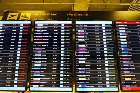 departures board: BANGKOK - JUNE 2: departures board at Suvarnabhumi International Airport on June 2, 2016 in Bangkok, Thailand. The airport handles 50 million passengers annually. Editorial