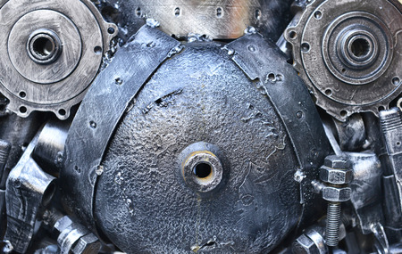 droid: Composition metal engines details. Abstract background.