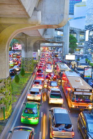 congested: BANGKOK - AUG 9: Traffic jam in city center on Aug 9, 2016 in Bangkok, Thailand. Annually an estimated 150,000 new cars join the heavily congested streets of the Thai capital.