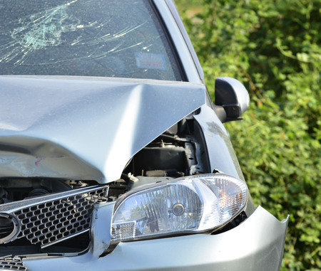 Car accident, insurance concept.Crashed car, Accident of transportation on the street Stock Photo