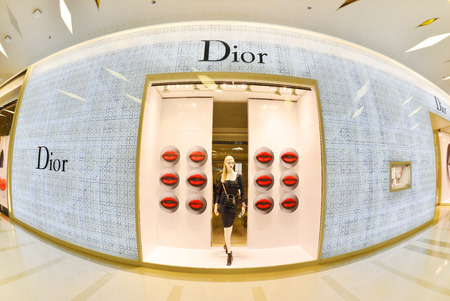 chaired: BANGKOK - JUNE 25: Front view of Dior store on June 25, 2016 in Siam Paragon Bangkok, Thailand. It is a French company controlled and chaired by Bernard Arnault who also heads Louis Vuitton. Editorial