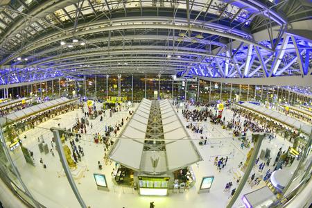BANGKOK - NOV 12 : Interior of Suvarnabhumi Airport ,Suvarnabhumi airport is worlds 4th largest single-building airport terminal on November 12, 2016 in Bangkok ,Thailand.