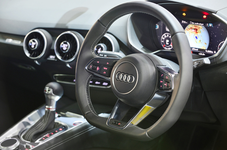cleaning service: BANGKOK - JUNE 23 : Audi interior on display at Bangkok International Auto Salon 2016 on June 23, 2016 in Bangkok, Thailand. Event of decoration and modify car. Editorial