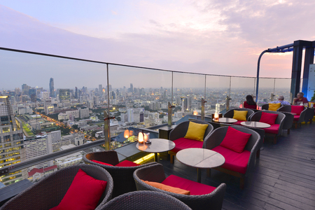 BANGKOK - THAILAND AUGUST 24, 2016: Twilight time from Red Sky Bar at Centara Grand at Central World, overlooking a magnificent cityscape of Bangkok.