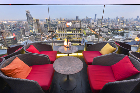 red sky: BANGKOK - THAILAND AUGUST 24, 2016: Twilight time from Red Sky Bar at Centara Grand at Central World, overlooking a magnificent cityscape of Bangkok