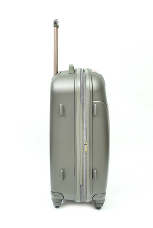 piece of luggage: Silver gray luggage isolated on white background