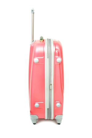 piece of luggage: Pink luggage isolated on white background